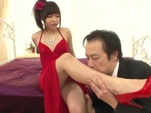 asian cutie wearing a red dress