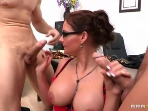 sexy brunette with glasses being spanked then mouth fucked