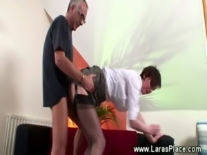 This mature couple is not too old to fuck in their living room free