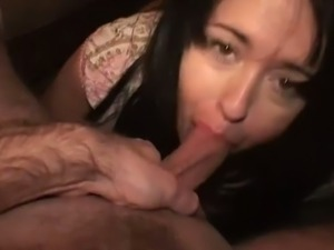 Cum swallowing whore deepthroating cock