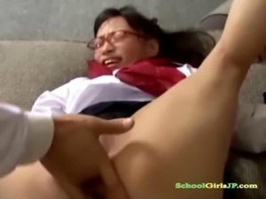 Schoolgirl With Glasses Fingered And Fucked With Toy By 2 Teachers On The...