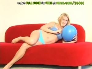 Blonde Babe Allison Pierce Plays With A Balloon free