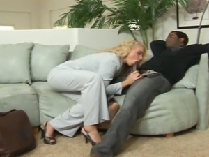 Bossy big ass blonde enjoys a black cock