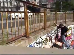 Bound babe face cummed in public while people pass by