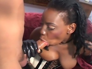 Ebony diva gets fucked wearing latex boots