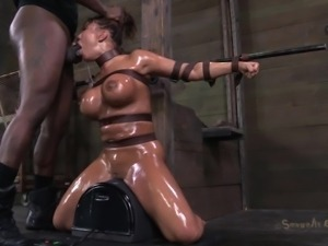 tied, oiled and mouth fucked