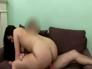 Casting with brunette slut being fucked free