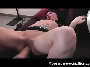 Hot brunette amateur babe takes a huge fist fucking in her tattooed vagina...
