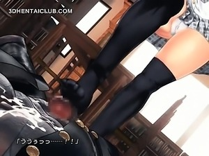 Anime schoolgirl feet fucks monster jizzing cock