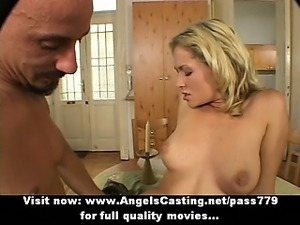 Sexy badass blonde babe fingered and fucked hard on kitchen table