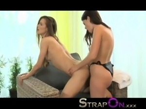 StrapOn Tight European girl fucked by lovely natural latina lesbian in her...