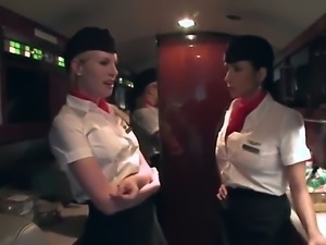 Businessman Voodoo needs to get a private pleasure with two stewardesses...