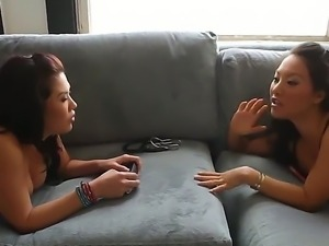 Hot asians Asa Akira along with London Keyes are having a great lesbian...
