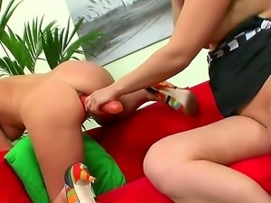 Hot lesbians Bettie and Olga pleasing each others holes with both sextoys and...