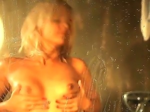 Incomprehensible desire Monroe to pose and squeeze her titties in the bathroom