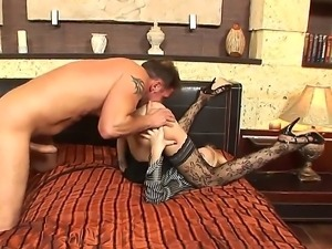 Amazingly exciting babe Logan in hot lace stockings fucked passionately by...