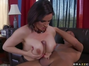 Arousing pale cock loving brunette milf Diamond Foxxx with smoking