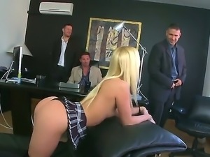 Amazing glamourous blonde Jessie Volt getting destroyed by David Perry,Ian...