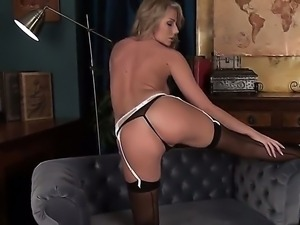 Sexy babe Danielle Maye is masturbating in her brand new sexy stockings on...