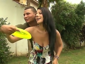 Long haired young brunette Juliana with immense natural tits and boyfriend...