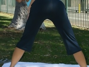 Horny Dylan Ryder does some gymnastics outdoors