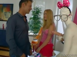 Rocco Siffredi has fun with two playful girls. He is