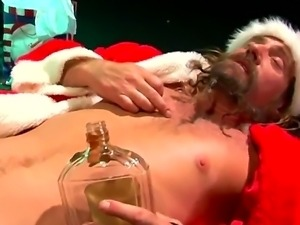 Very drunk Santa likes to be sucked, like anybody else. HE takes out of pants...