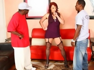 Nicki Hunter has two black cocks in her holes
