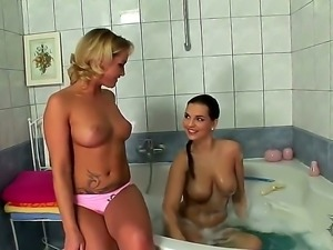 Spicy juicy lesbian whores Eve Angel and Kathia Nobili taking hot bath!