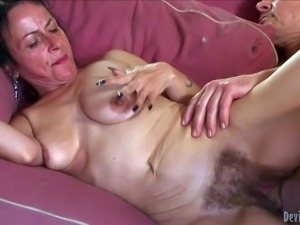 Horny granny Miss Nina Swiss with hairy pussy gets her