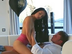 Curious and hot brunette Kerry fucking for the first time with this boyfriend