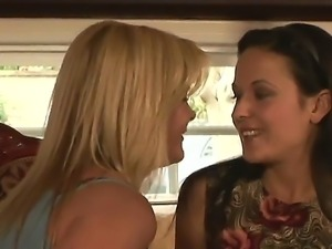Enjoy two amazing hot milf Elexis Monroe and Ginger Lynn having wild lesbian...