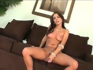 The famous pornstar Jenna Presley sucks her dildo and then penetrates her...