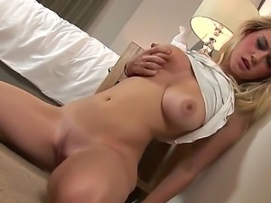 The handsome blonde slut Brook Little with a natural tits masturbates her...