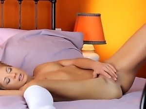 Mesmerizing and exciting Stephanie satisfies her wet and luring pussy with...