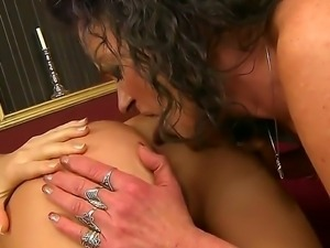 Sexy sensational lesbian babes have a good time as they suck cunt and play...