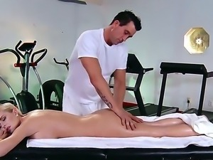 Billy Glide came in the local gym to present Riley Evans a relaxation massage...