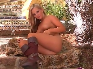 Have fun with exquisite blonde babe Melissa XoXo happy to plug dildo into...