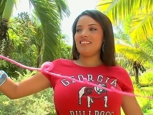 Young Latina Catalina willingly shows off her incredibly large natural boobs...