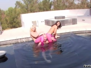 Provocative cheep and arousing blonde and brunette bitches Charley Chase
