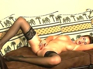 Glamorous brunette Connie with big natural hooters and smoking hot body in...