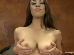 Naked brunette Tiffany Doll gets herself ready for fucking machine