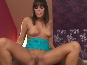 Dark haired babe Rosee with natural boobs got a new dildo and can not wait to...