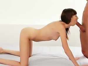 Sensual skinny brunette Tanielle presents sweet blowjob and fucked gently in...