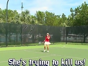 Very hot blonde likes to play tennis and then have a dirty flirting talk with...