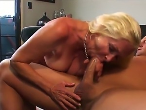 Hungry blonde granny Annabelle Brady is pleasuring a raunchy dick with her...