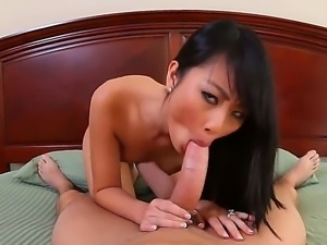 Cute Asian chick Evelyn Lin giving great blowjob to her friend Will Powers,...