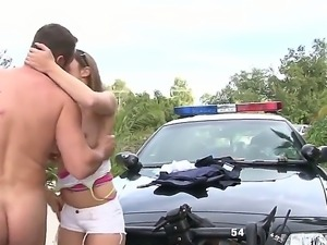 Kiera King buy off the handsome policeman with her whoring mouth and tight pussy