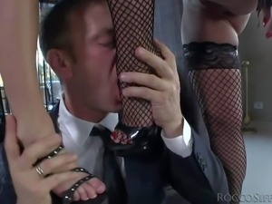 Rocco Siffredi licks Christina Bella's and Jessie Volt's feet and