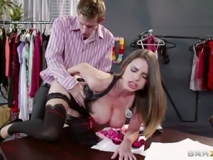 Pretty long haired brunette secretary Brooklyn Chase with huge jaw dropping...